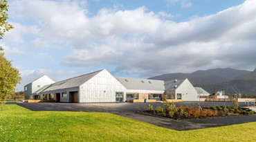 zinc clad modern school mountains backdrop exterior schools photography