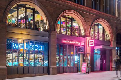 Wahaca-Edinburgh-night-photography-diners-pedestrians