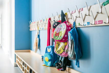 school cloakroom recess interior architectural photography