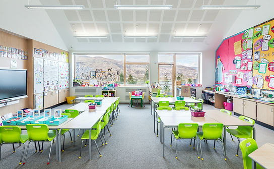 modern bright school classroom with view interior architectural photograhy