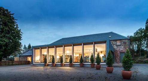 dusk architectural photography of Restoration Yard cafe