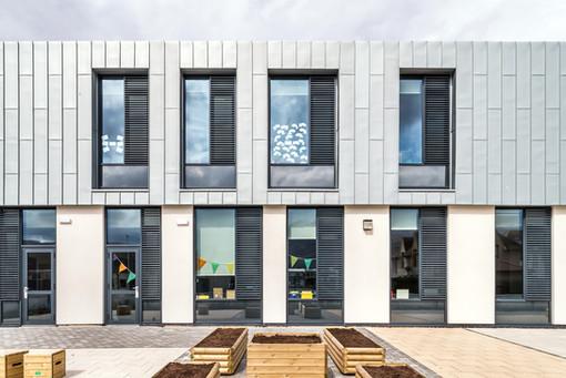 zinc clad modern school elevation exterior school photography