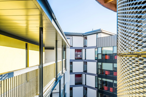 External courtyard walkways to student accommodation in Edinburgh