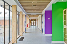 interior schools photography: courtyard internal circulation corridor bright colours