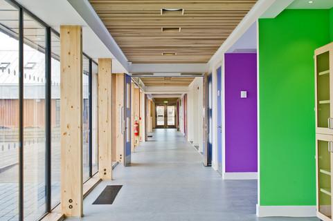 interior schools photography: courtyard internal circulation corridor bright colours
