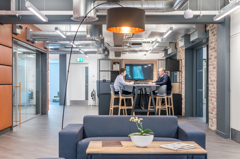 interior-photographers-edinburgh-stunning-design-office-exposed-brickwork-break-out-space-people-meeting