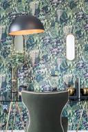 David-Wilson-Homes-lifestyle-study-velvet-green-chair-pattern-wallpaper-showhome-photography