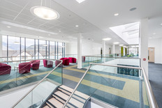 modern school circulation atrium interior architectural photography