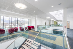 modern school circulation atrium interior architectural photography