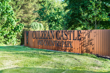 entrance sign on steel fence at Culzean Castle