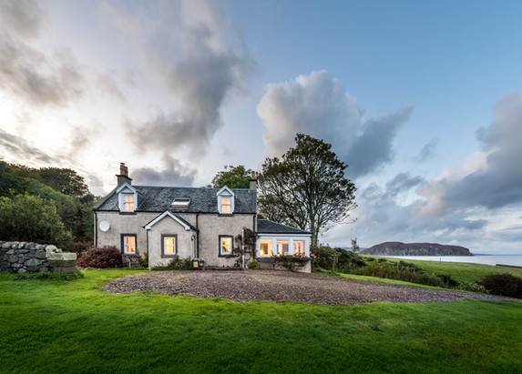 coastal holiday cottage at dusk architectural photography