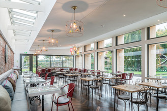 interior architectural photography of the restaurant at Restoration Yard in Dalkeith