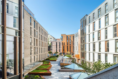 external courtyard architectural photography of Holyrood North student acommodation