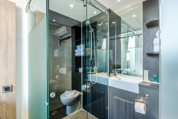 Glazed bathroom pod in Z Hotel bedroom