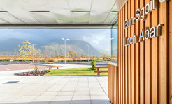 timber clad modern school entrance canopy exterior education photography