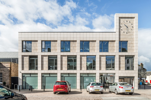 exterior architectural photography of stone clad modern offices for Highland Council in Wick