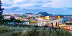 house-dusk-against-Edinburgh-cityscape-architectural-photographer