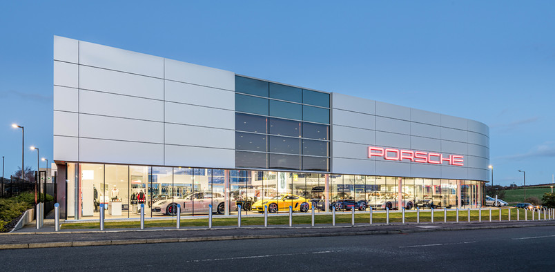 porsche-showroom-edinburgh-dusk-architectural-photographer-scotland-edinburgh