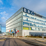 exterior architectural photography of the BBC Scotland building in Glasgow