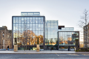 Exterior office photography of Norman Foster designed fully glazed offices at Quartermile in Edinburgh
