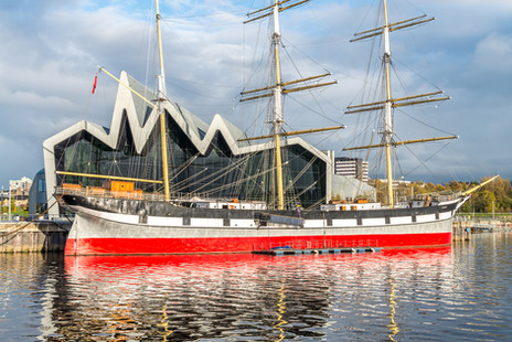architectural photograph of the Riverside Museum from across the Clyde