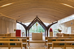 interior public building photography of timber clad modern chapel in Edinburgh