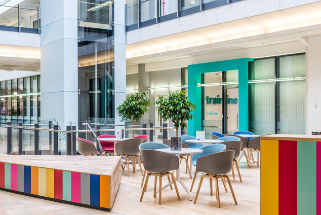 interior photography of modern refurbished office atrium with cafe area