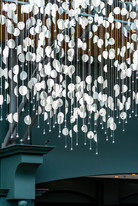 lifestyle photography of chandelier in main atrium space of Fairmont Hotel