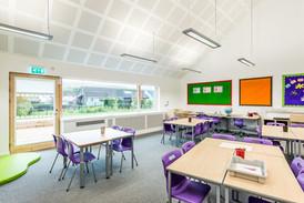 modern bright school classroom interior architectural photography