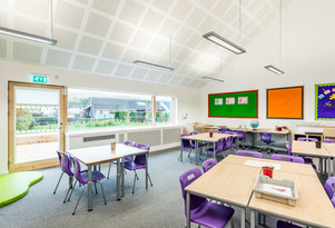 modern bright school classroom interior architectural photography