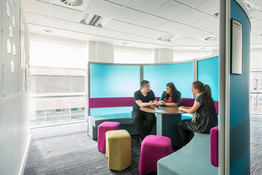staff meeting in a modern breakout space at Atlantic Quay