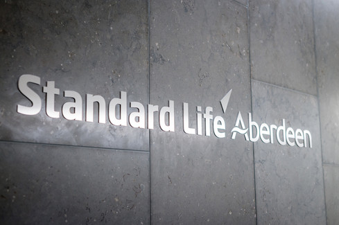 Standard Life Aberdeen branding in the reception to their offices in Edinburgh