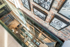 interior photography looking down through glass floor in the National Mining Museum
