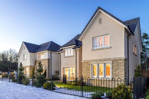 snowy-festive-show-home-street-scene-dusk-architectural-photography-scotland