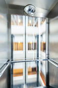 Interior architectural photography of moving scenic lift in hotel