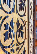 steel shutter detail with lazer cut floral pattern