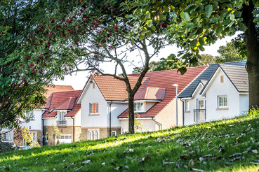 Cala-Homes-view-through-trees-to-houses-showhome-street-scene-photography