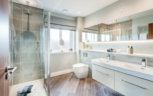Cala-Homes-modern-bathroom-double-vanity-mirror-timber-floor-showhome-photography