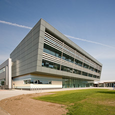 metal clad louvred modern college building exterior architectural photography
