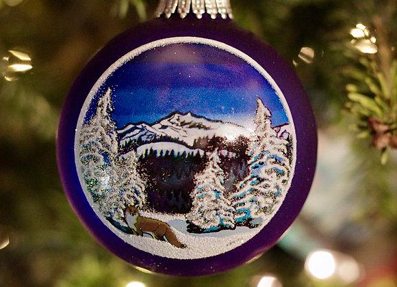 Fox in the Snow Glass Ornament