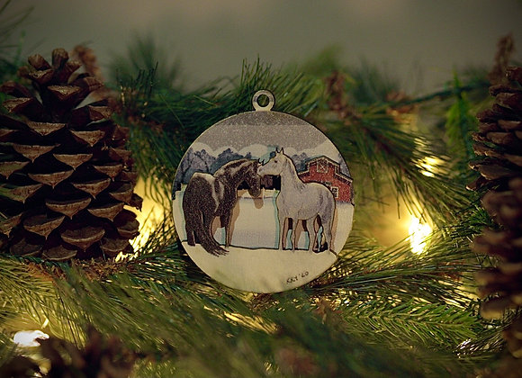 WS 3D Horses Wooden Ornament