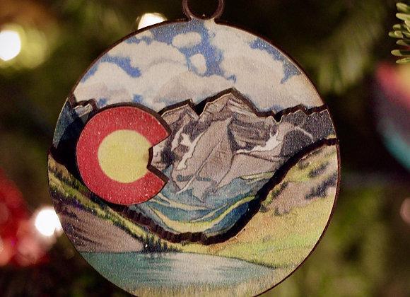 Colorado Alpine Lake 3D Wooden Ornament