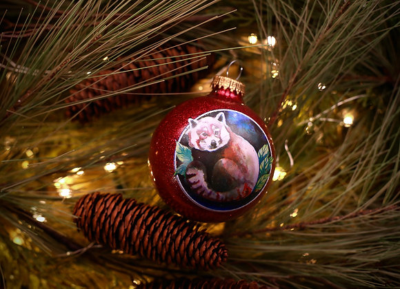Red Panda Traditional Glass Ornament