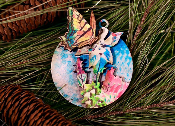3D Butterfly on Columbine Ornament