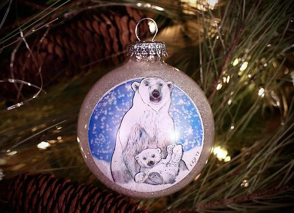 Polar Bear Glass Ornament