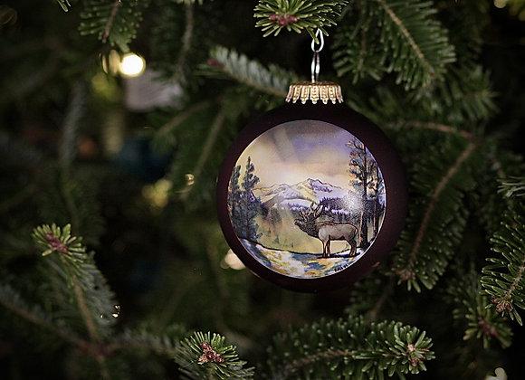 Elk Mountain Peak Glass Ornament