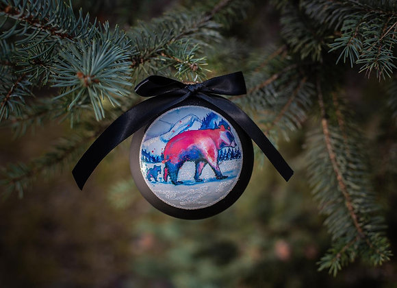 Mama and Baby Bear Red Ornament