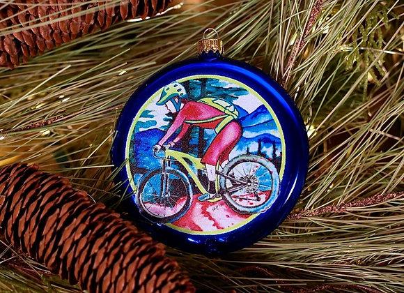 Mountain Biker Disc Ornament