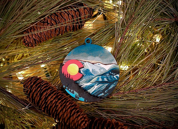 Colorado Winter Landscape 3D Wooden Ornament
