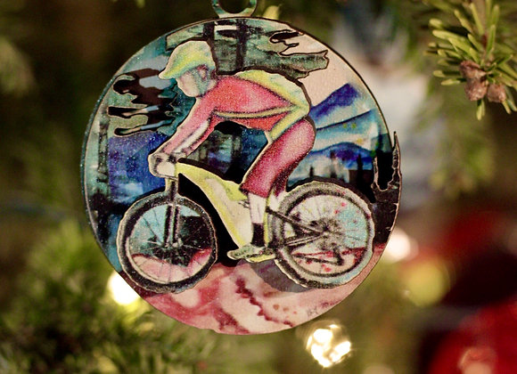 Mountain Biker 3D Wooden Ornament